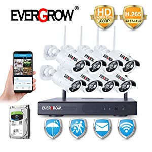 [2019 Update] EVERGROW H.265 Wireless Home Security Cameras System,1TB Hard Drive,8 Channel 1080P NVR, 8 HD 1080P 2.0MP Outdoor Indoor Home Video WiFi Cameras with 100ft Night Vision Motion Detection