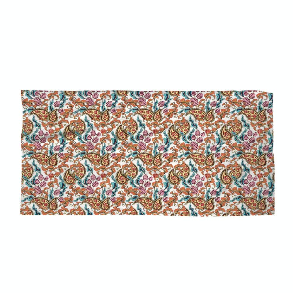 iPrint Cotton Microfiber Beach Towel,Kitchen Decor,Paisley Floral Vintage Pattern Antique Country Home Design Decorative Floral Style,Coral Red Blue,for Kids, Teens, and Adults