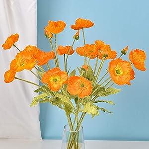 Kuppn 23 inch Artificial Poppy Flower, 3pcs Long Stem Silk Papaver with 4-Head Blossoms Poppy Silk Flower for Home Centerpiece Wedding Decor DIY Bridal Bouquet