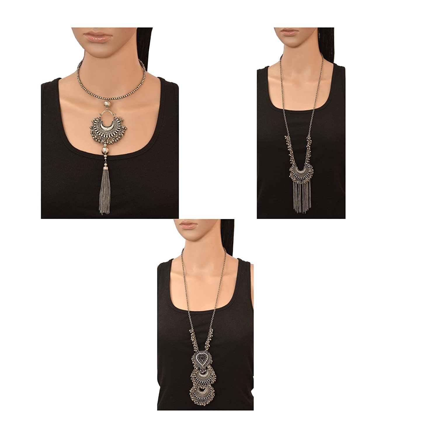 Zephyrr Fashion Turkish Style Beaded Long Pendant Necklace for Women Combo of 3