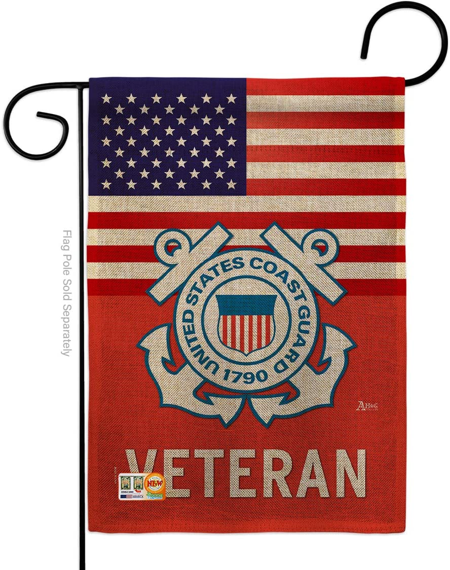 US Coast Guard Veteran Burlap Garden Flag - Armed Forces USCG Semper Paratus United State American Military Retire Official - House Banner Small Yard Gift Double-Sided Made in USA 13 X 18.5