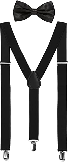 adjustable clip on suspenders  green  yellow  white
