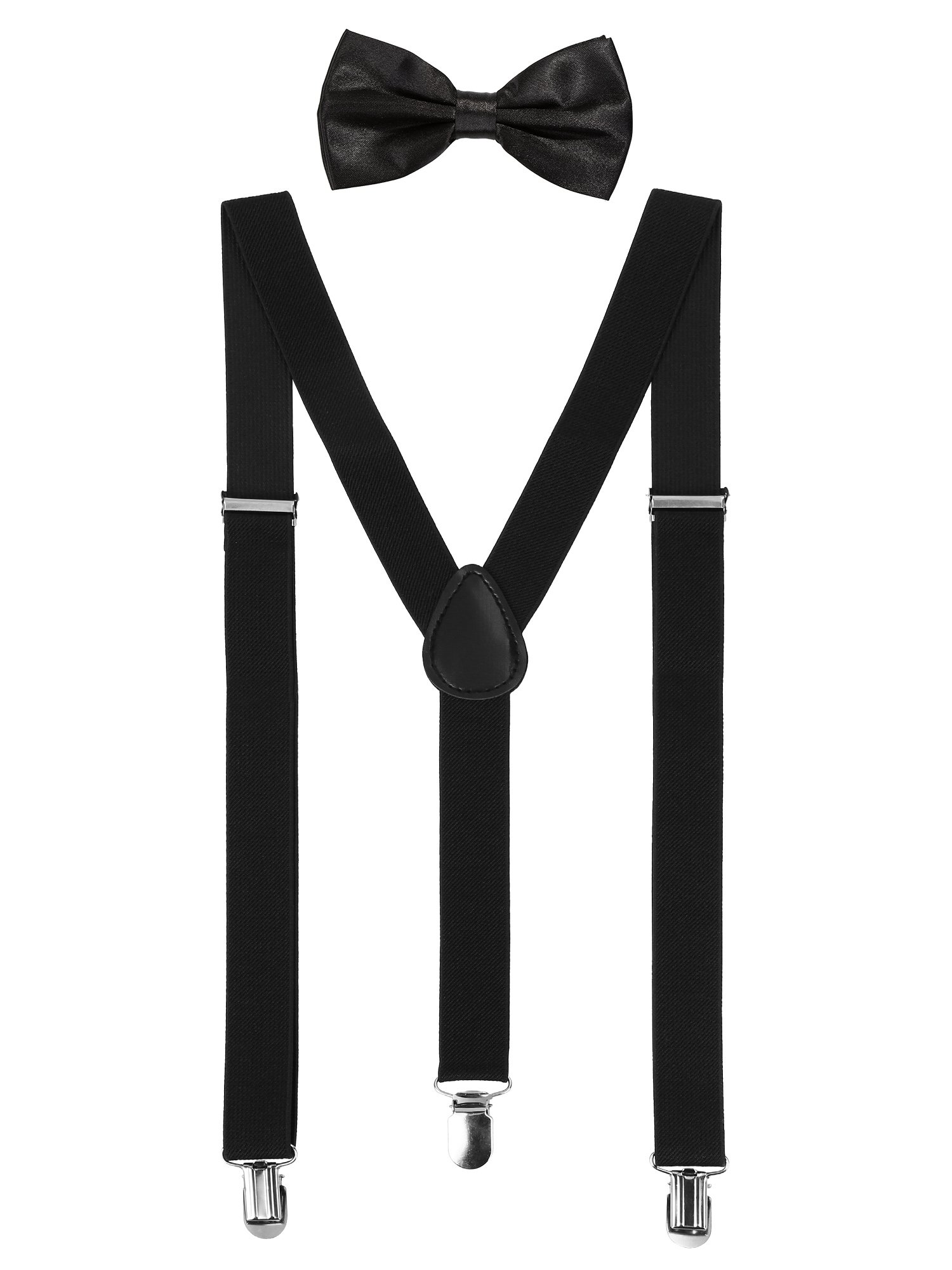 Suspender Bow Tie Set Clip On Y Shape Adjustable Braces, 80s Costume Suspenders Shoulder Straps for St. Patrick's Day