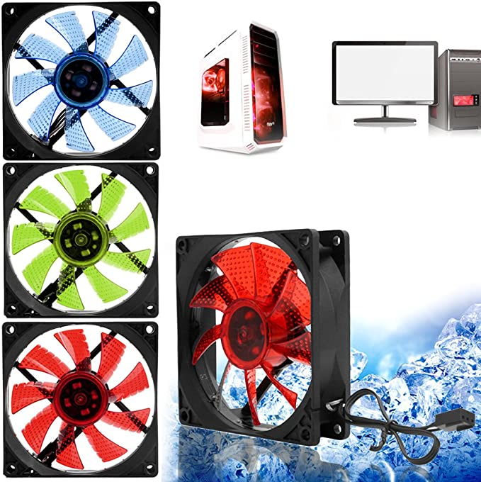 Yuanhaourty 90mm 3 Pin PC Desktop Computer Case Cooling Cooler Fan with LED Light Low Noise 9025