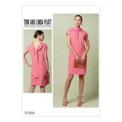 Amazon Vogue Patterns V60 Misses' Lined Shift Dress With Back Simple Shift Dress Sewing Pattern