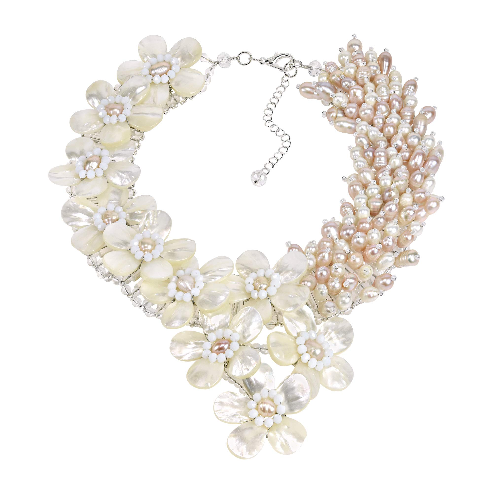 AeraVida Elegant Blush Romance Mother of Pearl & Cultured Freshwater Pearl Floral Collar Necklace