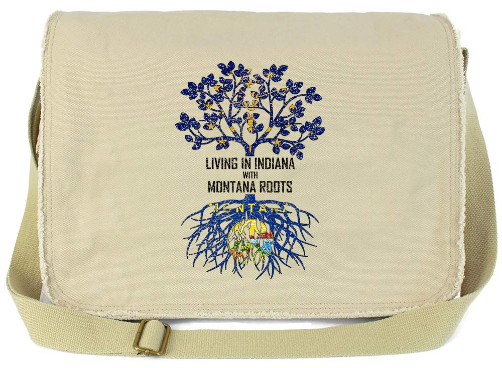 Tenacitee Living In Indiana with Montana Roots Grey Brushed Canvas Messenger Bag