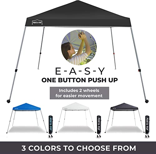 PORTA-POP One Button Easy Pop Up 10×10 ft Portable Folding Canopy Slant Leg