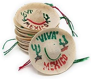 Mini Mexican Sombrero Hats 12 Pack – Mexican Fiesta Decorations – Cinco de Mayo Tabletop Party Supplies
