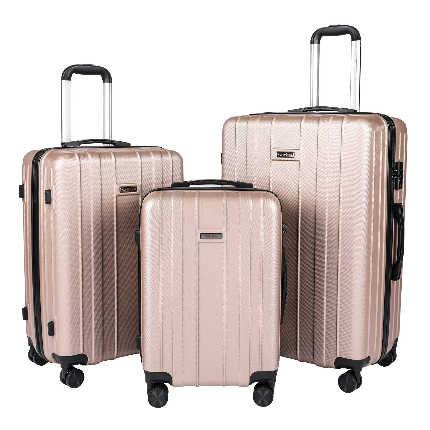 17df863ed46f CarryOne Luggage Lightweight Suitcase ABS 3 Piece Set with TSA Lock Spinner  Whells TD3-Gold(20in,24in,28in)