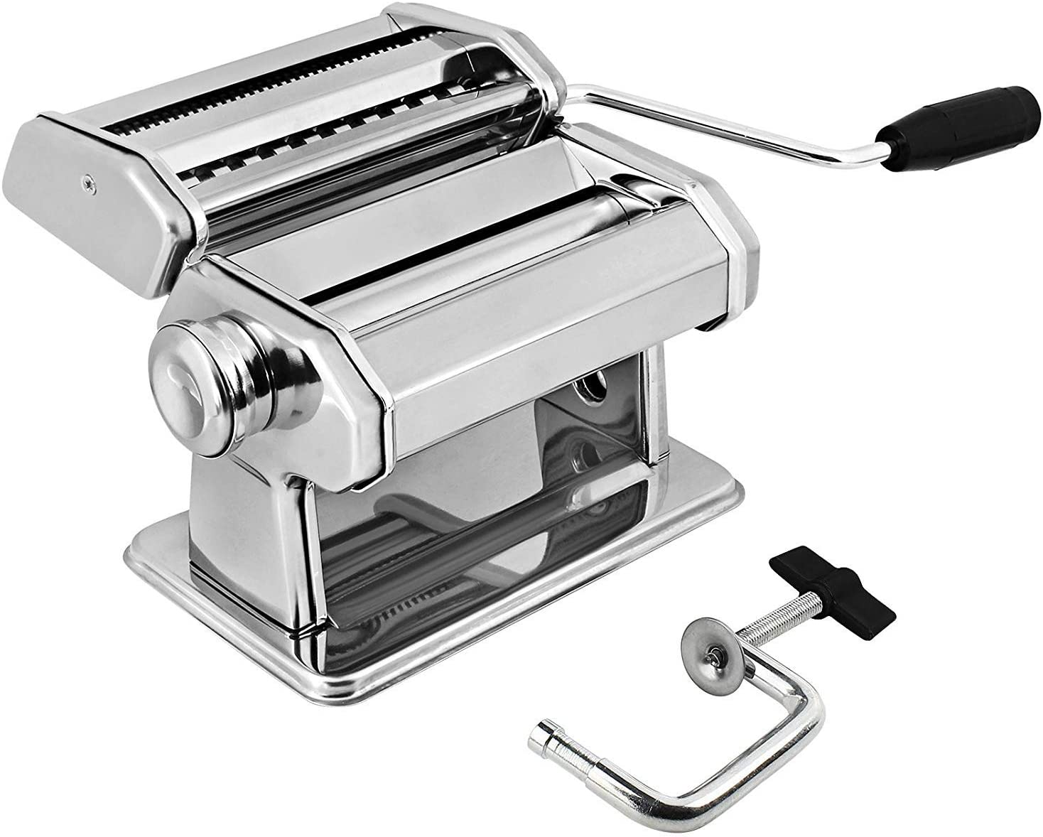 Amazon Com Gourmex Stainless Steel Manual Pasta Maker Machine With Adjustable Thickness Settings Perfect For Professional Homemade Spaghetti And Fettuccini Includes Removable Handle And Clamp Silver Kitchen Dining