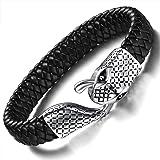 Ostan gioielli uomini in pelle corda braccialetto intrecciato Cuff Bracciale Nero