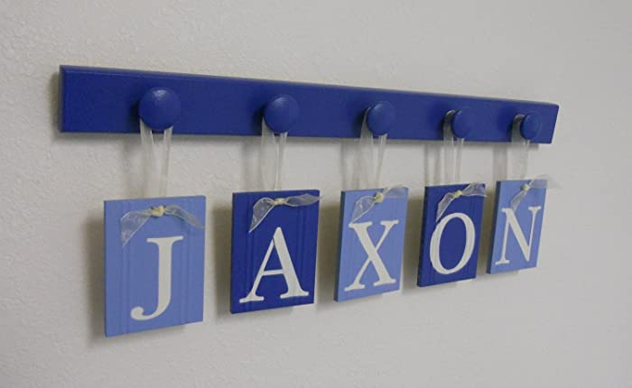 alphabet letters boy baby name signs personalized letter plaques set includes wood knobs painted blue