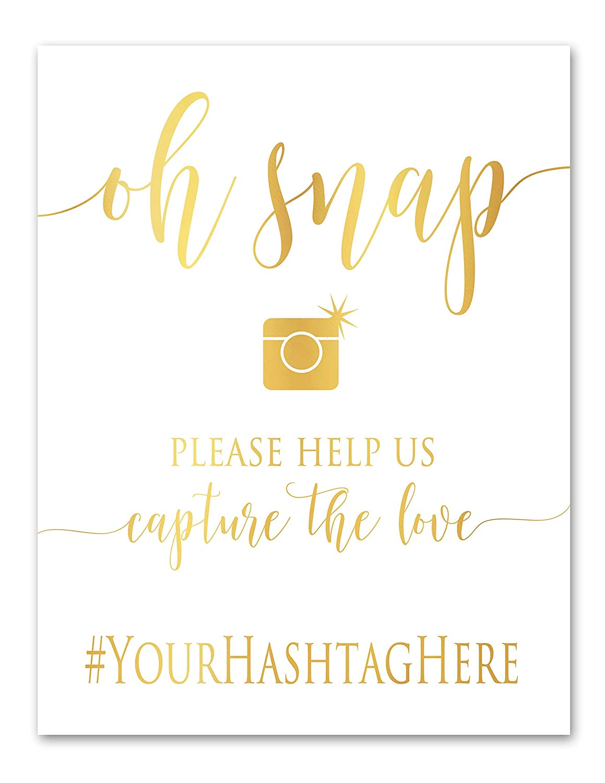 Oh Snap Gold Foil Wedding Hashtag Sign Capture The Love Social Media  Signage, Instagram