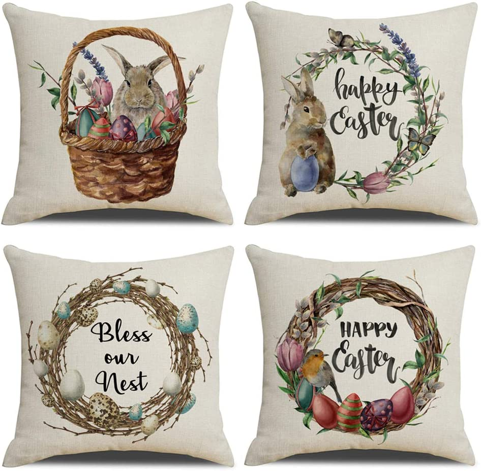 """KACOPOL Easter Rabbit Pillow Covers Vintage Watercolor Easter Wreath with Eggs Spring Home Decorative Cotton Linen Throw Pillow Case Cushion Cover 18"""" x 18"""" Set of 4 (5)"""