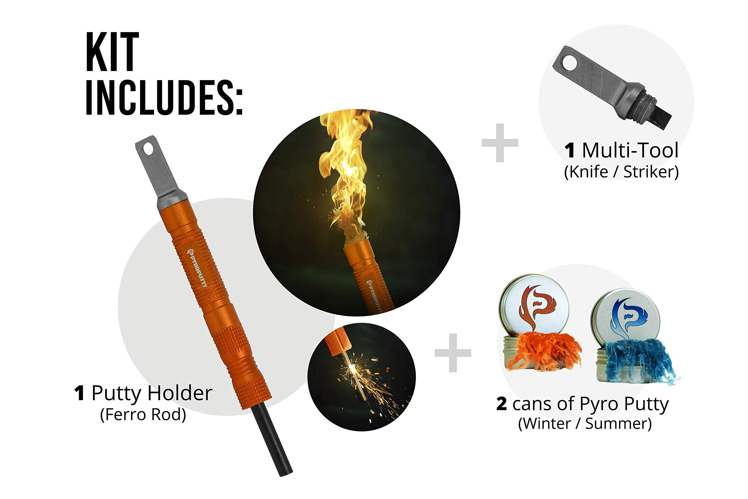 Pyro Putty Compact Inferno Ferro Rod Fire Starting Survival Kit Includes (Orange)