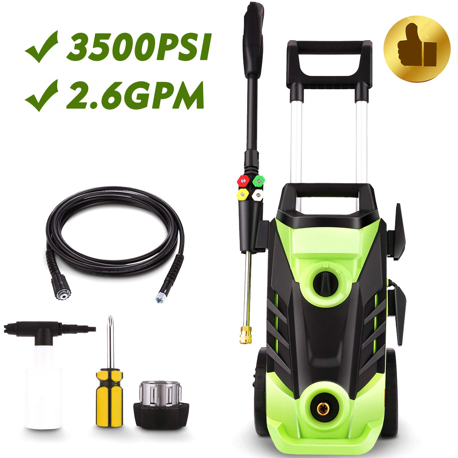 Homdox 3500 PSI Electric Pressure Washer, 1800W Power Washer, 2 6GPM High  Pressure Washer, Professional Washer Cleaner Machine with 4 Interchangeable