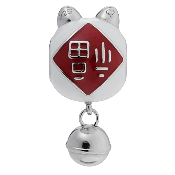 Rhodium On 925 Sterling Silver Fortune Lucky Cat Enamel Jingle Bell Dangle European Style Charm 8sdh6ey