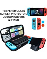 Starter Kit, Stand, Glass Screen Protector, JoyCon Covers, 20 Game Holder | Protective Travel Carry Shell Pouch