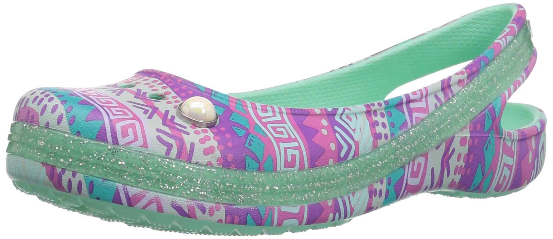 Crocs Girls' Genna II Graph Sparkle Sling K Ballet Flat, Mint, 10 M US Little Kid