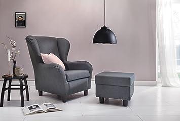 Furniture For Friends Ohrensessel Möbelfreude® Landhausstil Mit Hocker  Savana Hell Grau Cocktail Sessel