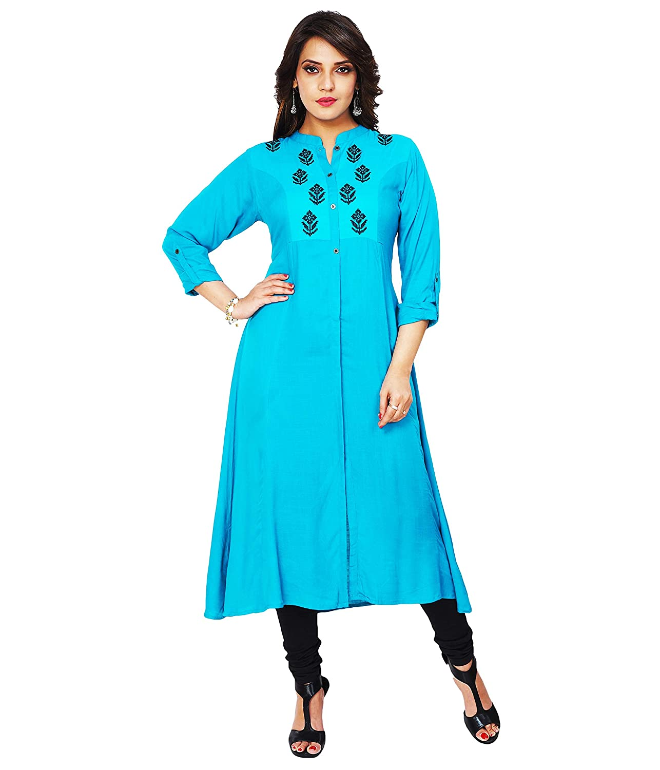 Stand Collar Designs For Kurti : Aarti designs sky blue color sleeves with stand collar