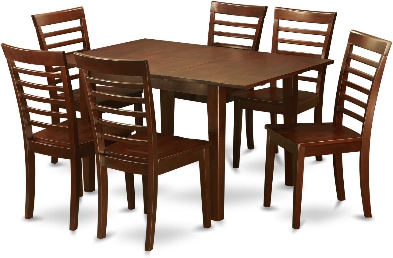 Amazon Com 7 Pc Dinette Set For Small Spaces Kitchen Table And 6 Chairs For Dining Room Table Chair Sets