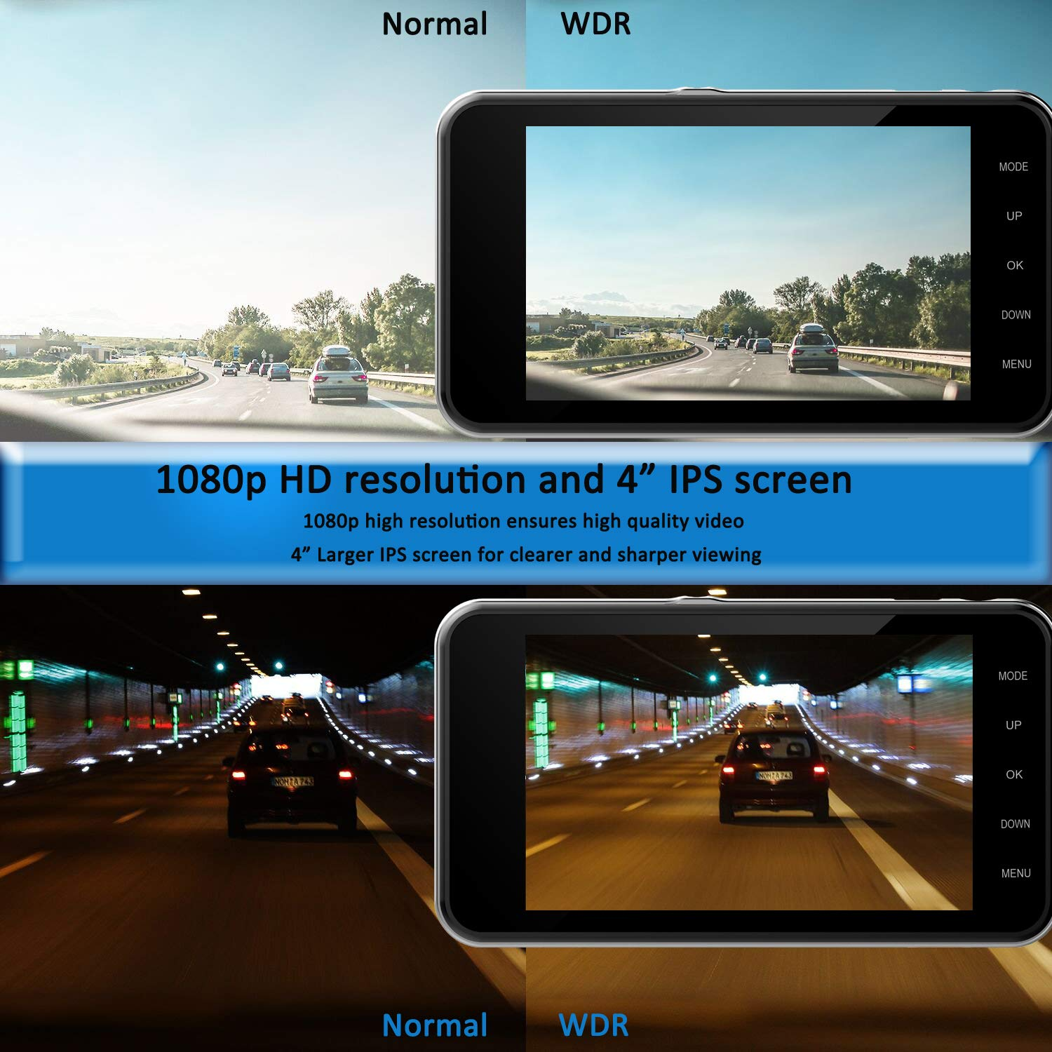 Dual Dash Cam Front and Rear, NINE CUBE 1080p HD Driving Recorder,Car DVR Dashboard Camera, 4'' IPS Screen, 170° Super Wide Angle, G Sensor, Loop Recording, Parking Monitor, Motion Detection by NINE CUBE (Image #6)