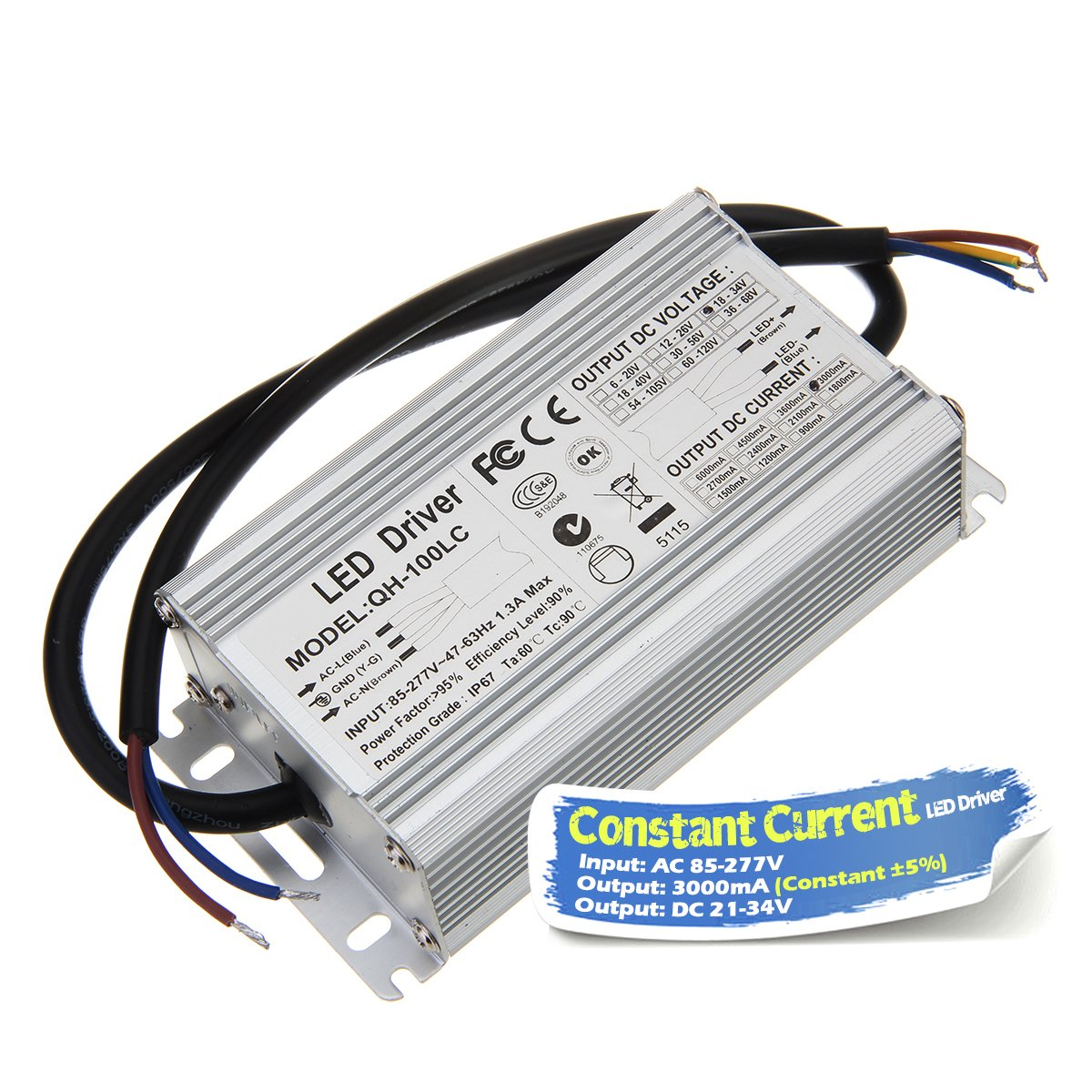 Chanzon LED Driver 3000mA (Constant Current Output) 21V-34V (In85-277V AC-DC) (7-10)x10 70W 80W 90W 100W IP67 Waterproof High Power Supply 3000 mA Lighting Transformer for 100 W COB Chips (Aluminium)