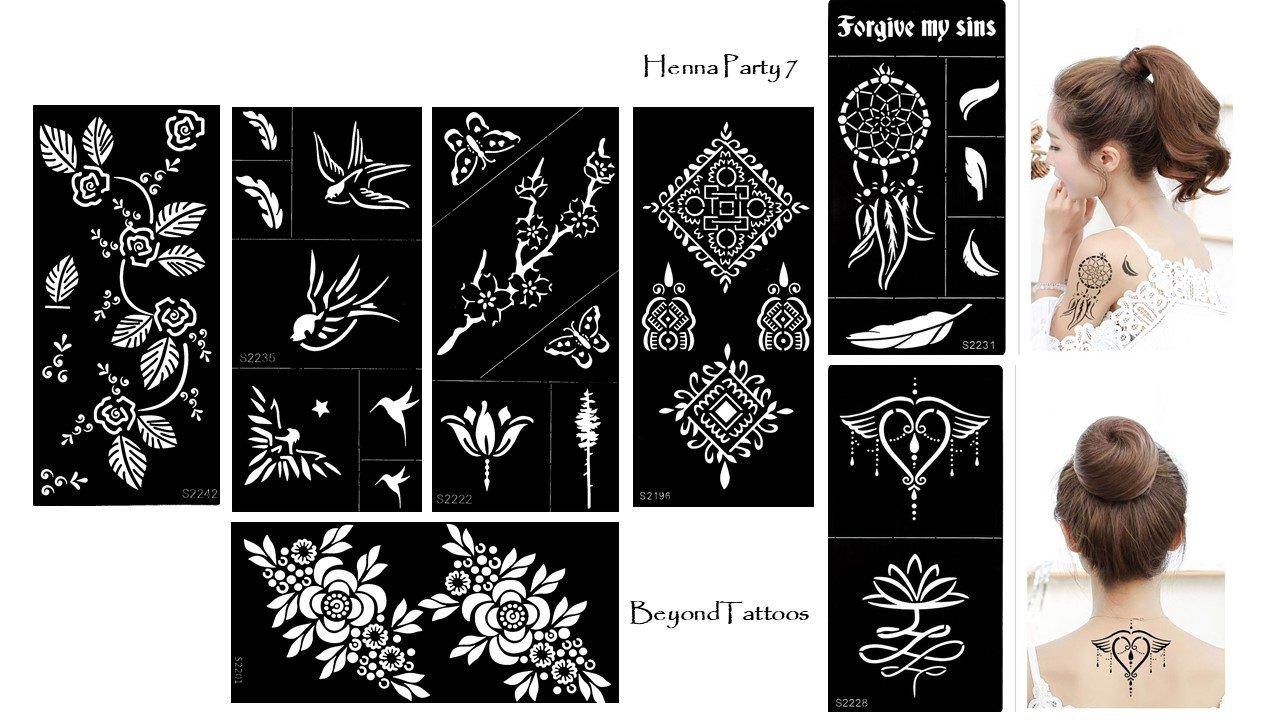 Tattoo Schablone Vorlage 7 Stück Set Henna Party 7 zur einmaligen Verwendung für Körper und mehr Beyond