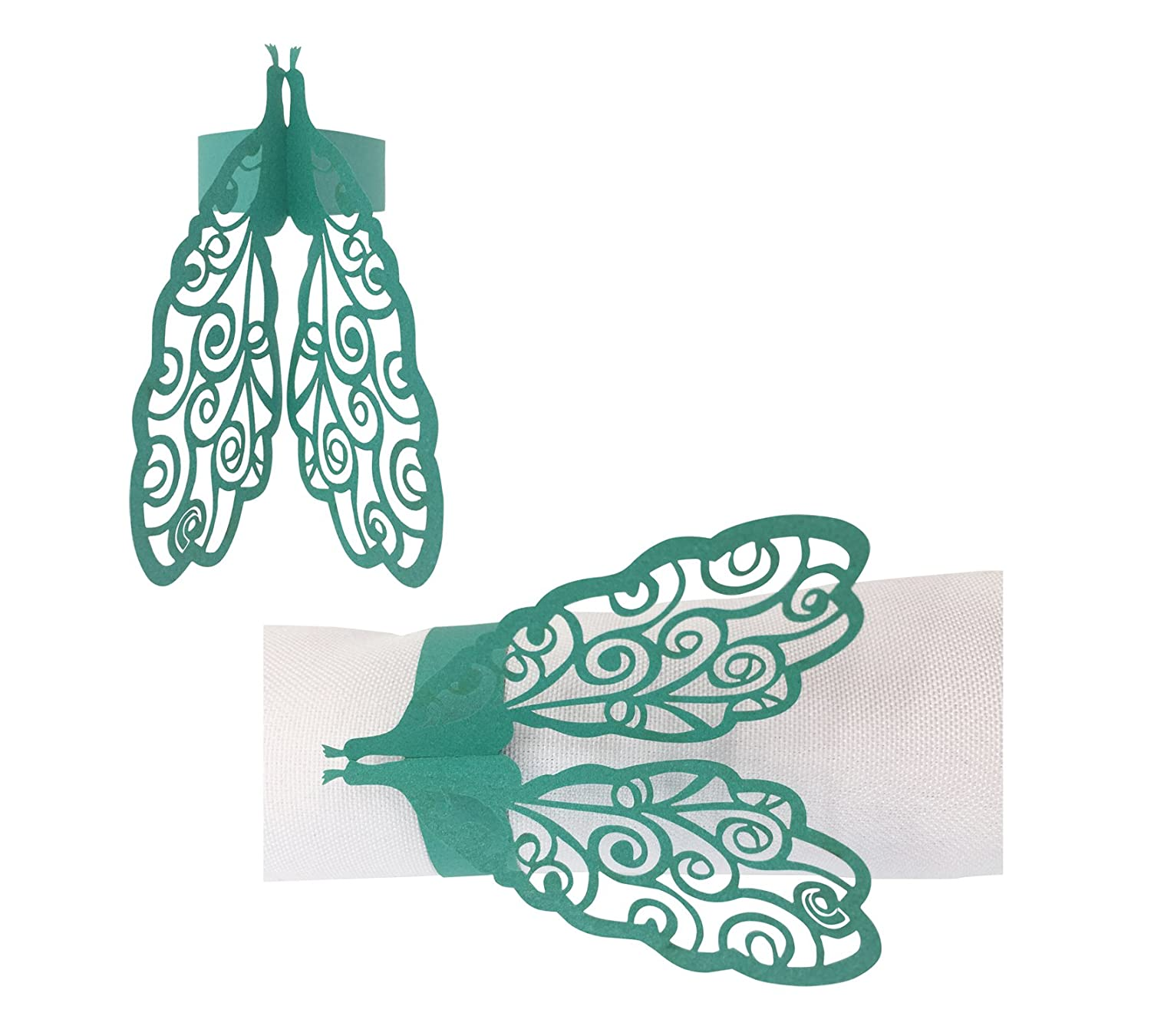 50 PCS Delicate Peacock Pattern Paper Napkin Rings Holders Laser Cut Design paper napkin Rings for Wedding Banquet Dinner Party Decoration Favor (Peacock-Blue) T-shin