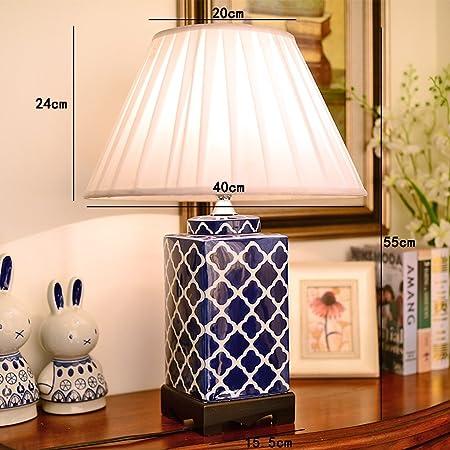 JJJJD Lámpara de mesa Grande de cerámica Azul, lámpara de ...