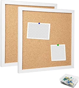 """Corkboards for Wall, 2PCS Cork Board Bulletin Board for Walls with Frame Tiles,12""""X 12"""" Thick Square Wall Tiles Small Framed Cork Tiles for Office,School, Home Holiday Decor (White, 1212)"""