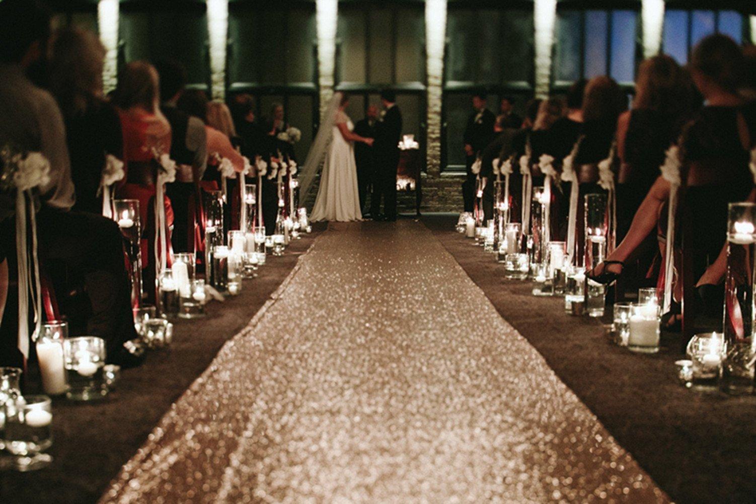 TRLYC 4ftx16ft Sequin Floor Aisles Runner for Wedding-Rose Gold