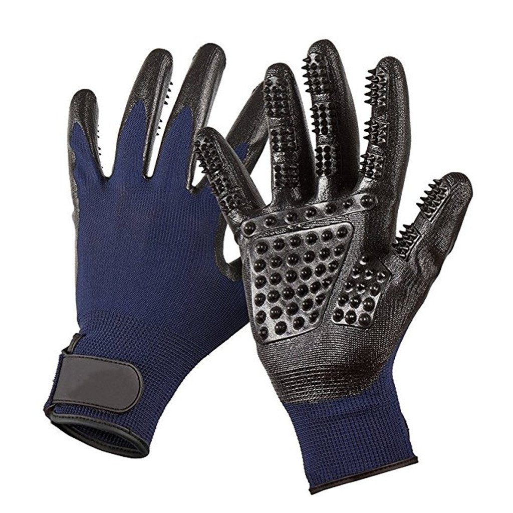 Pet Grooming Mitt Glove -Gentle Deshedding Glove Heavy Duty Deshedding Tool For Cats, Dogs & Horses Short, Long Hair Removal - Pair Of Left & Right Black Mitt,Blue,5Pair