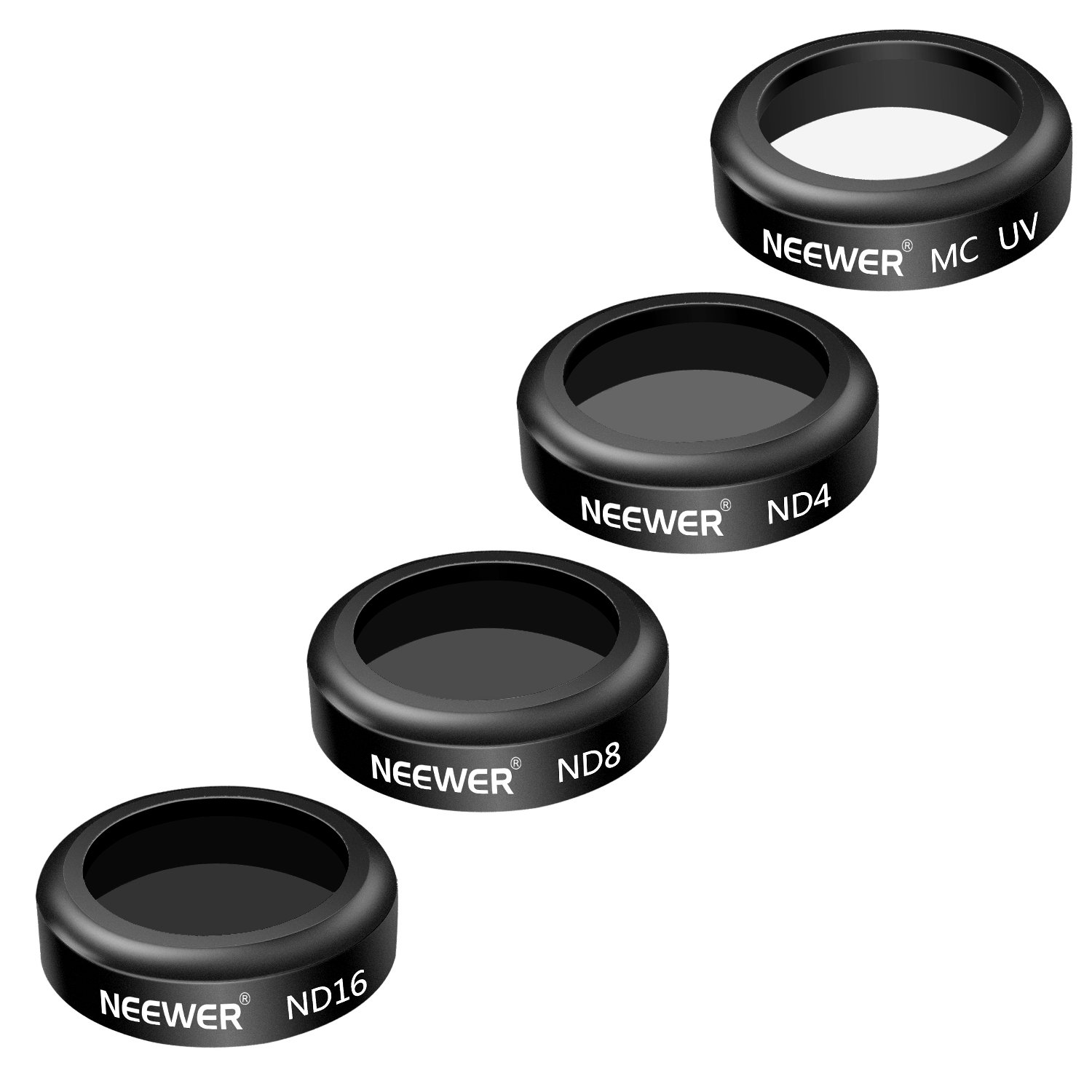 ND8 Black Made of Multi Coated Optical Glass and Waterproof Aluminum Alloy Frame Neewer 4 Pieces Filter Kit for DJI Mavic Air Drone Quadcopter Includes: UV ND16 Filter ND4
