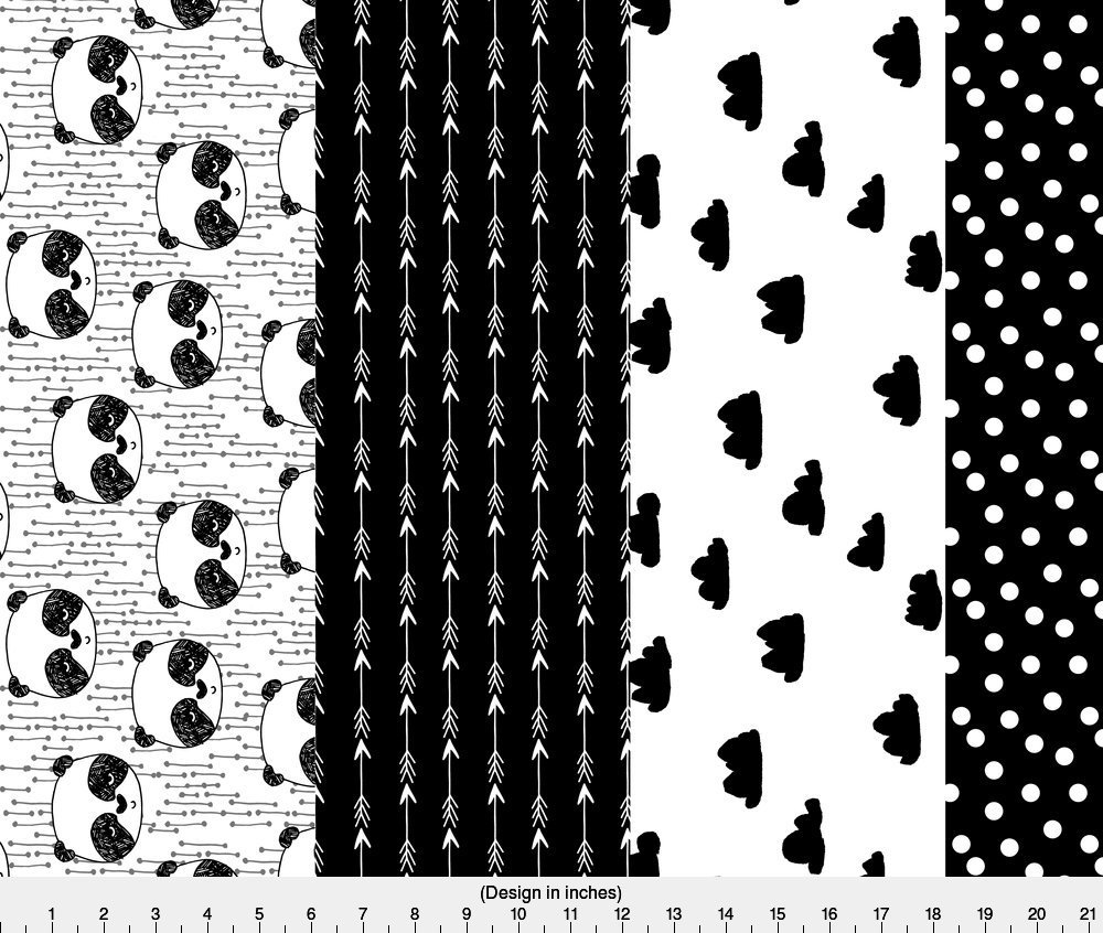 Amazon com pandas fabric panda quilt fabric cheater quilt fabric black and white stripes for trendy baby nursery by andrea lauren printed on modern