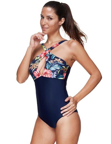 5aa1714e933 Zexxxy One Piece Retro Hight Waist Swimsuit Tropical Monokini Size M Navy  Blue