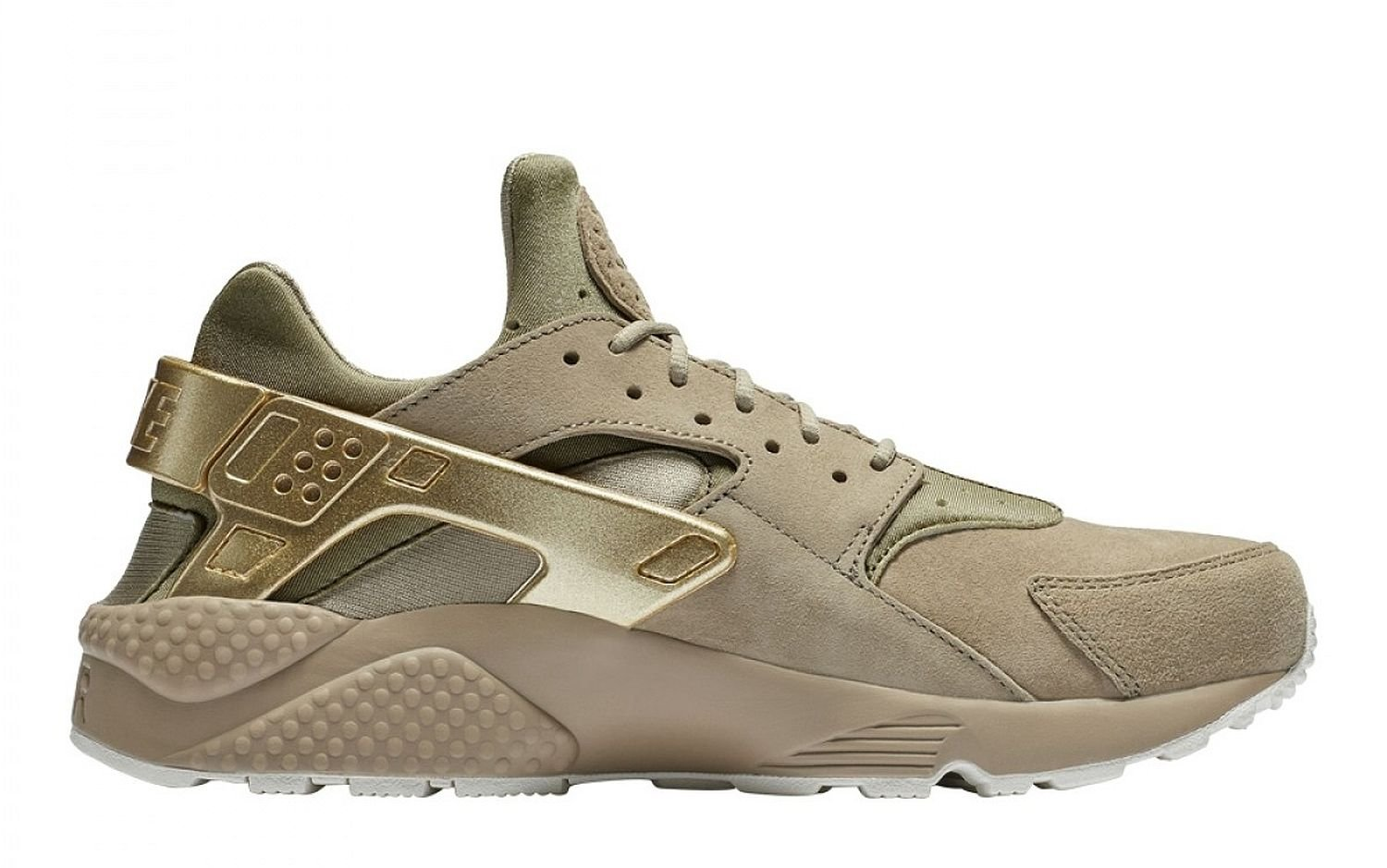 Nike Air Huarache Run Premium Khaki/Metallic Gold Coin-Sail (11.5 D(M) US)