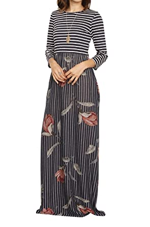5e72371150f FISACE Womens Floral Tie Waist Striped Patchwork Maxi Dress 3 4 Sleeve Side  Pocket Long