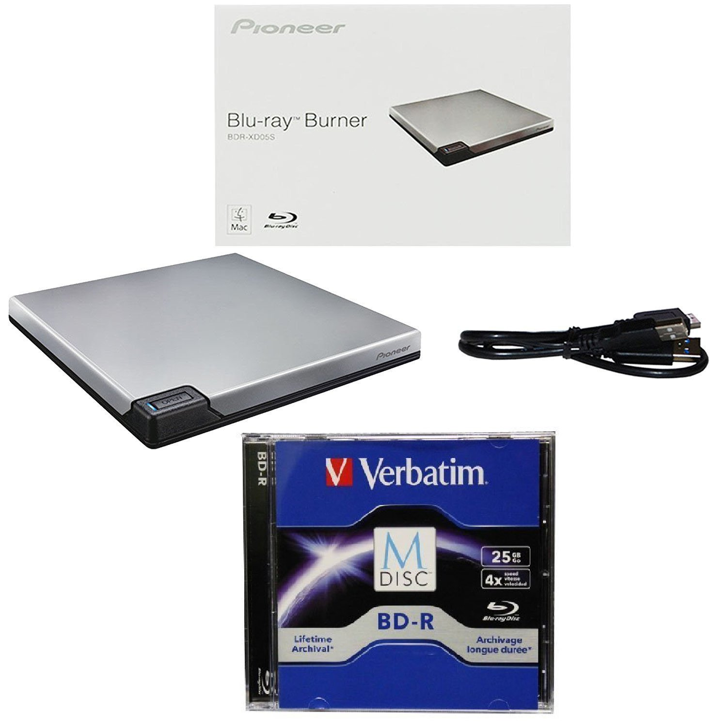 Pioneer 6X BDR-XD05S Portable USB 3.0 Blu-ray Burner Bundle with 1 Pack M-DISC BD - Supports BDXL, BD, DVD, and CD Media (Silver, Retail Box)