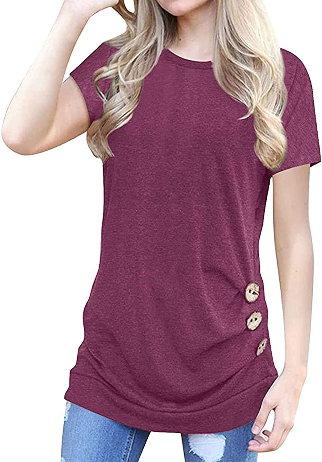 YEAQING Women Short Sleeve Solid Tunic Casual Loose Cotton T-Shirts Tee Top Blouse