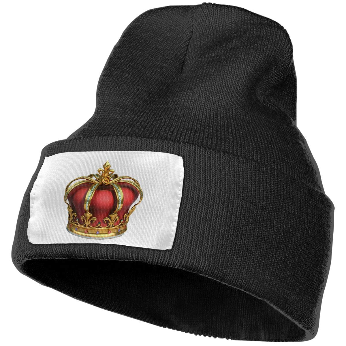 085a5212952 Amazon.com  Beanie Hat Knit Hat Cap Gold and Red Crown with Diamonds Unisex  Cuffed Plain Skull Knit Hat Cap Head Cap Black  Clothing