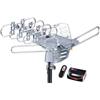 McDuory Amplified Digital Outdoor HDTV Antenna 150 Miles Long Range - 360 Degree Rotation Remote Control - Tools Free Installation - Support 2 TVs