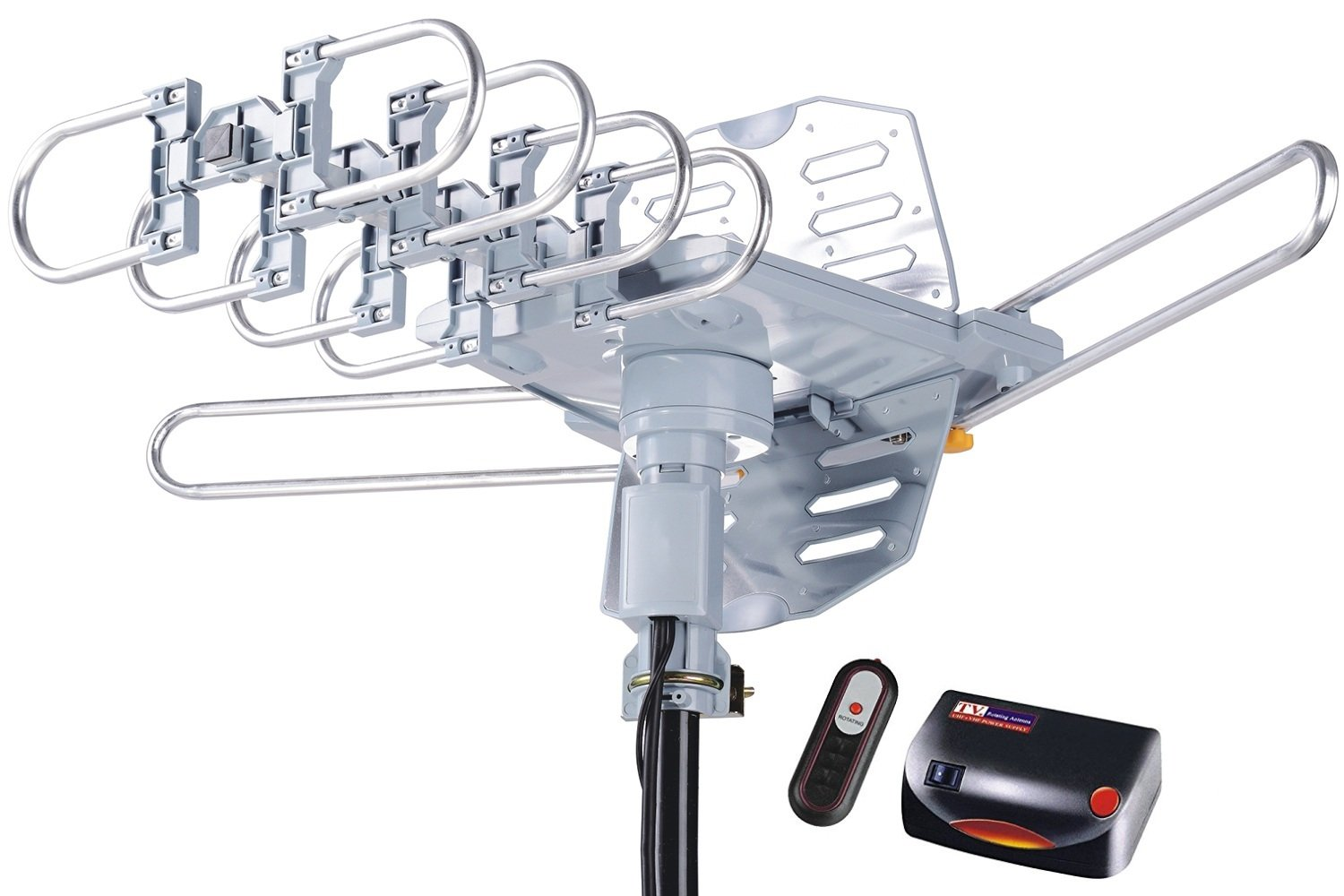 McDuory Amplified Digital Outdoor HDTV Antenna 150 Miles Long Range - 360 Degree Rotation Remote Control - Tools Free Installation - Support 2 TVs 2608B