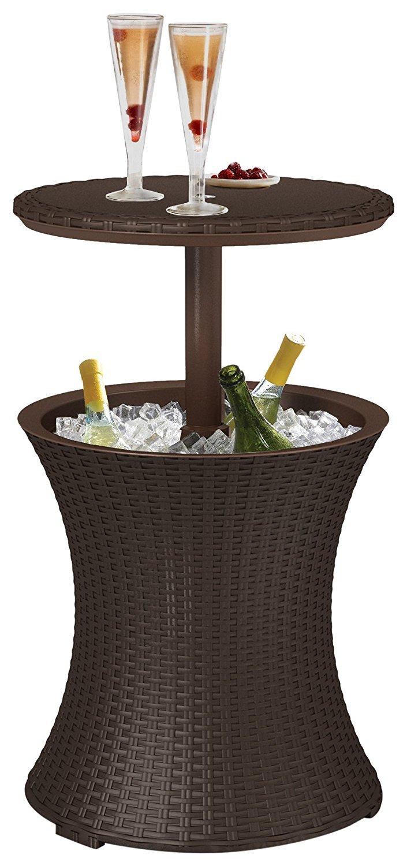 Koll Living Kühltisch in braun - 3in1 3in1 3in1 - Bistrotisch und Kühlbox in Einem - kühle Getränke stets griffbereit - Stehtisch für Party, Grill- oder Gartenfest 32ad64