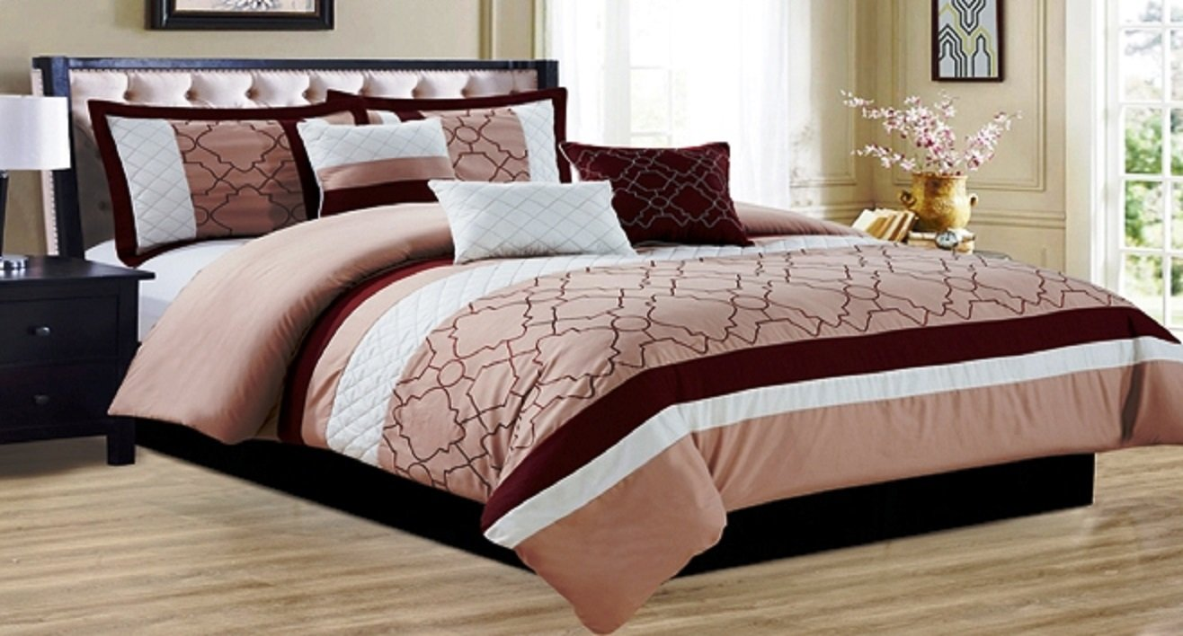 GR - 7 Piece Embroidered Comforter Set D5 (King Très Grand, Beige-Burgundy Beige-Bourgogne) D&B