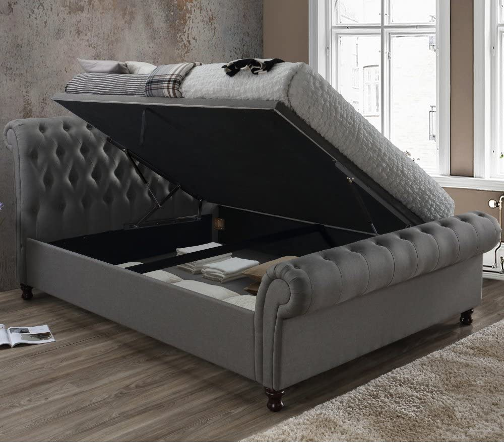 - Velvet Ottoman Bed, Happy Beds Castello Grey Fabric Chesterfield