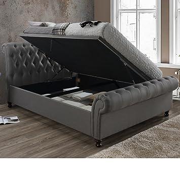 Astonishing Velvet Ottoman Bed Happy Beds Castello Grey Fabric Pdpeps Interior Chair Design Pdpepsorg