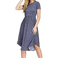 YUNDAI Women's Casual Summer Polka Dot Dresses Short Sleeve Midi Dress with Pockets